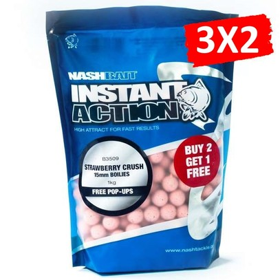 "NASH INSTANT ACTION BOILIES "" STRAWBERRY CRUSH "" 1 KG 15 MM"