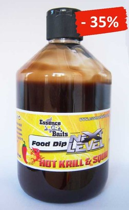 "ESSENCE BAITS FOOD DIP NEXT LEVEL "" HOT KRILL & SQUID "" 500 ML"