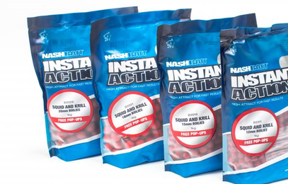 "NASH INSTANT ACTION BOILIES "" SQUID & KRILL"" 1 KG + 5 POP UP GRATIS"