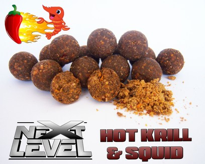 "ESSENCE BAITS "" NEXT LEVEL "" HOT KRILL & SQUID BOILIES 750 GR"