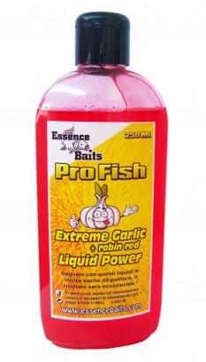 "ESSENCE BAITS LIQUID POWER PRO LINE "" EXTREME GARLIC + ROBIN RED "" 250 ML"